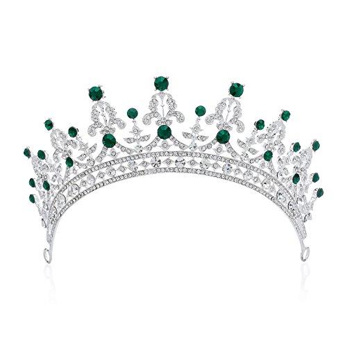 SWEETV Prinzessin Tiara Strass Hochzeit Krone Braut Diadem mit Kristalle, (Strass Tiara Mit Metall Silber)