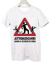 Idea Regalo - Tshirt Addio al Celibato - Attenzione! Addio al Celibato in Corso - - Tutte Le Taglie by tshirteria