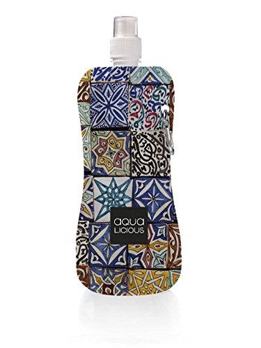 Faltbare Trinkflasche mit Karabiner, wiederverwendbar mit tollen Motiven (Marrakech)