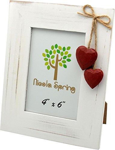 Nicola spring, cornice portafoto, in legno, colore bianco, con cuori rossi, da 10 x 15 cm