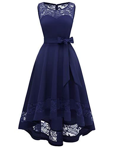GardenWed Damen Kleid Cocktailkleid Elegant Unregelmässig Spitzenkleid Abendkleider für HochzeitNavy 3XL