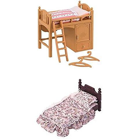 Dos familias de Sylvanian Families–Suite de conjuntos de cama–cama individual, cama y litera