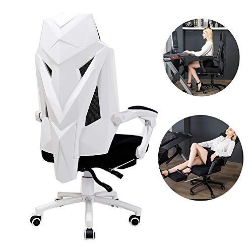 HUINING Gaming Stuhl Bürostuhl Schreibtischstuhl Mit Fußstützen Gamer Stuhl Drehstuhl Höhenverstellbarer Gaming Sessel PC Stuhl Ergonomisches Chefsessel Mit Armlehne,White