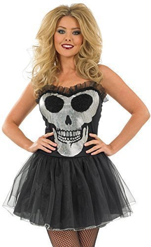 Fancy Me Damen Sexy Schwarz Silber Schädel Halloween Tütü Kostüm Kleid Outfit UK 8-18 - Schwarz, UK 12-14
