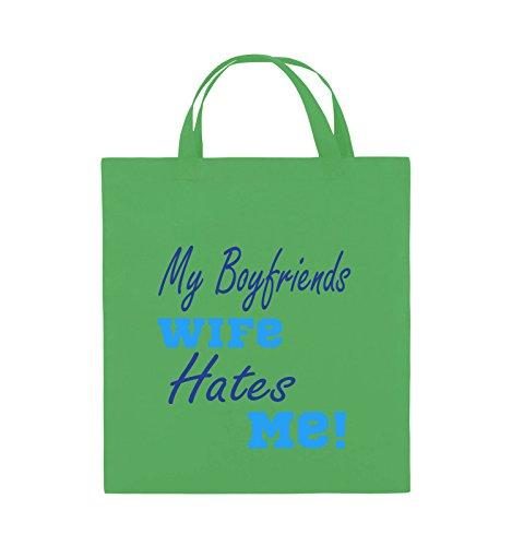 Comedy Bags - My boyfriends wife hates me! - Jutebeutel - kurze Henkel - 38x42cm - Farbe: Weiss / Rosa-Violet Grün / Hellblau-Royalblau