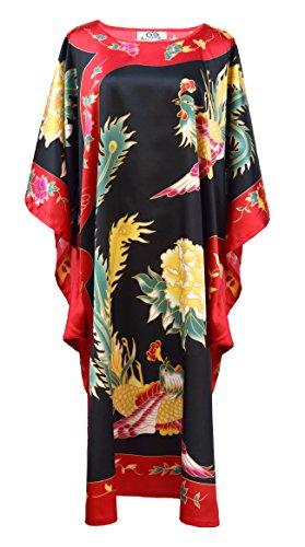 kimono boubou chinois - Noir et rouge - taille unique