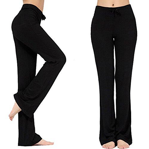 Pantalones Largos Modales Cómodos de Lazo del Cordón de Las Mujeres Sueltos de la Pierna Recta...