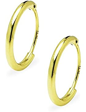 Sterling Silver Small Gold Flash Premium Endless Hoop Earrings For Cartilage, Nose and Lips