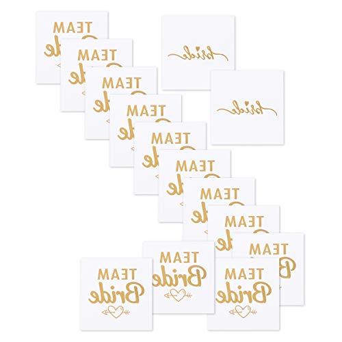 Youngrich 16 pezzi addio al nubilato gadget idee della sposa tatuaggi adesivi oro team bride tattoo addio al nubilato amiche della sposa accessori kit per addio nuziale doccia 5 x 5 cm