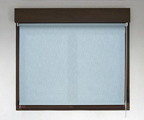 Estor enrollable PREMIUM (desde 40 hasta 300cm de ancho) translúcido efecto tela (permite paso de luz, no permite ver el exterior/interior. El color no es liso simula el efecto tela). Color azul claro. Medida 114cm x 160cm para ventanas y puertas