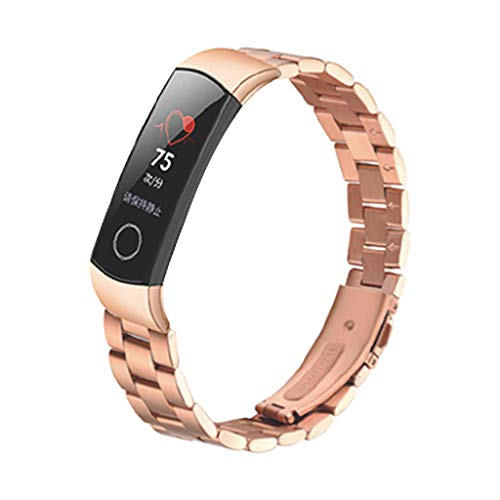 Für Huawei Honor 4 Armband MuSheng Mode Sports Edelstahl Strap Solide Ersatzarmband Damen Herren Bracelet Sport Band Strap Wristband für Huawei Honor 4 (Rotgold)