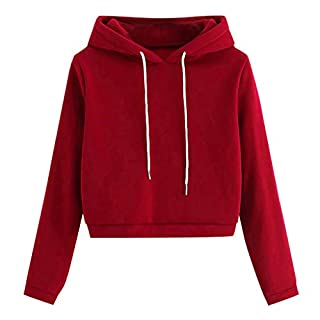 Havecolor Damen Sweatshirt Teenager Mädchen Kurz Crop Tops Kurz Hoodie Cropped Kapuzenpullover Hoodie Einfarbig Kaputzenpullis (S, Rot)