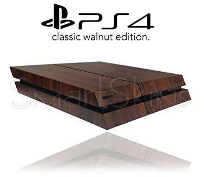 Sony Playstation 4 PS4 Textured Walnut Wood Skin Wrap Cover Decal Cover by SmartSkins