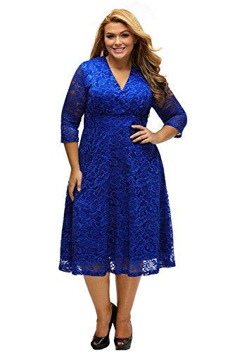 ILFtrend Spitze Blumen Große Größen Kleid Partykleider Cocktail Kleid (XXXL, Blau)