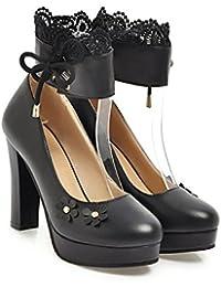 CXQ-Talons QIN&X Bloc de Femmes Hauts Talons Parti Plate-Forme Peu Profonde Bouche Discothèque Chaussures Rose,Pompes,32