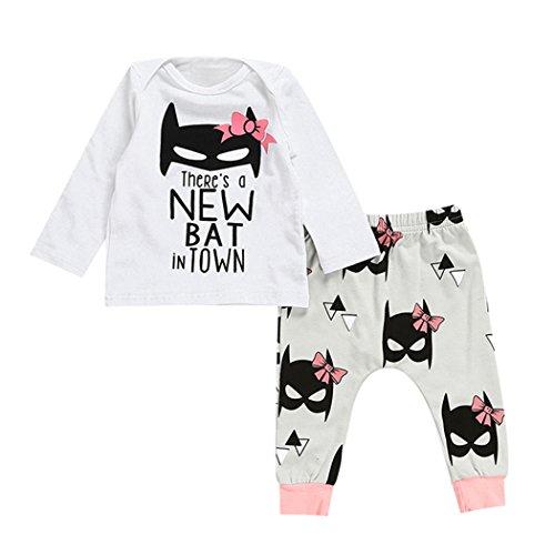 Baby Bekleidung 2er Set Neugeborene Mädchen Langarm T-Shirt mit Batman Print + Hose 0-24 Monate (Kinder Batman Outfits)