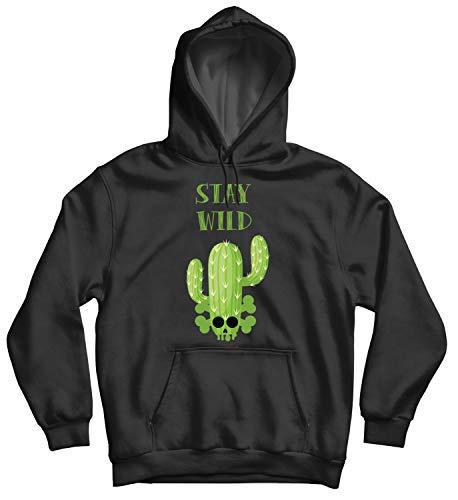 Cactus Skull Stay Wild_010633 Cute Funny Hoody Sweater Sweatshirt Pullover Present - LG Black Hoodie Lg Black Crystal