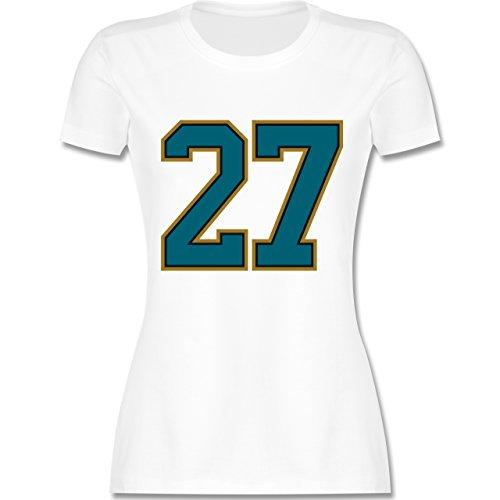 American Football - Football Jacksonville 27 - S - Weiß - L191 - Damen T-Shirt Rundhals (Jaguars-football-t-shirt Damen Weißen)