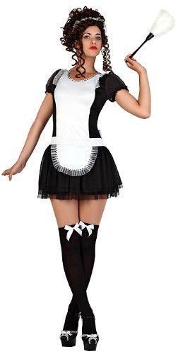 Atosa 22924 - Dienstmädchen Kostüm, Größe XS-S, schwarz/weiß