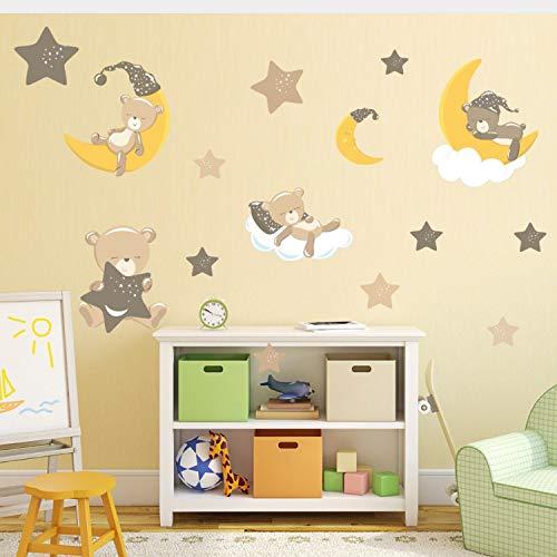 r für Schlafzimmer Wohnzimmer Mädchen Junge Küche - Mond-Stern-Niedlicher Teddybär-Cartoon ()