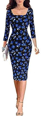 SunIfSnow - Robe spécial grossesse - Moulante - Uni - Col Chemise À Patte Boutonnée - Manches 3/4 - Femme - bleu - XX-Large