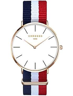 XLORDX Damen Unisex Armbanduhr elegant Quarzuhr Uhr modisch Zeitloses Design klassisch Gold Nylon Blau Weiß Rot