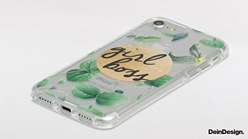 Apple iPhone 7 Bumper Hülle Bumper Case Glitzer Hülle Palmenwedel Blatt Leaf Bumper Case transparent