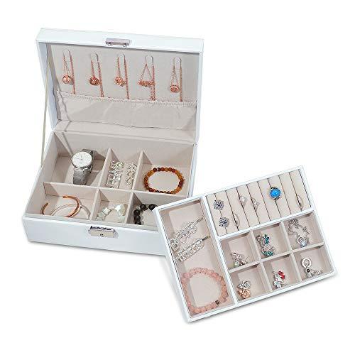 CGBOOM Schmuckkästchen Damen Groß Weiß Schmuckschatulle 2 Ebenen mit Schlüssel, Schmuckbox PU-Leder für Ringe Ohrringe Halsketten, Armbander und Sehen Haarnadeln,Watch
