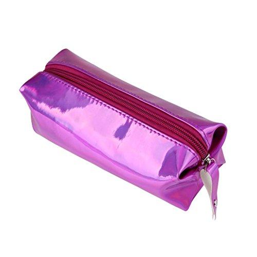 Trousses à maquillage, Internet Crayon et stylo Carré boîtes Fermeture éclair sac de rangement cosmétique 16 * 11 * 6CM (Violet)