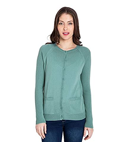 WoolOvers Womens 100% Merino Crew Neck Knitted Cardigan Sea Green, S