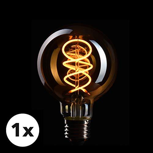 Antik Weiß 4 Licht (CROWN LED Edison Glühbirne E27 Fassung, Dimmbar, 4W, 2200K, Warmweiß, 230V, EL18, Antike Filament Beleuchtung im Retro Vintage Look)
