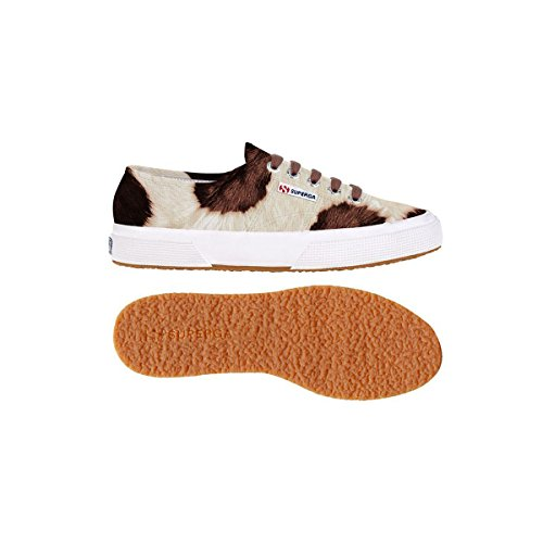 Superga 2750-LEAHORSEW Damen Hohe Sneakers Off White-Brown