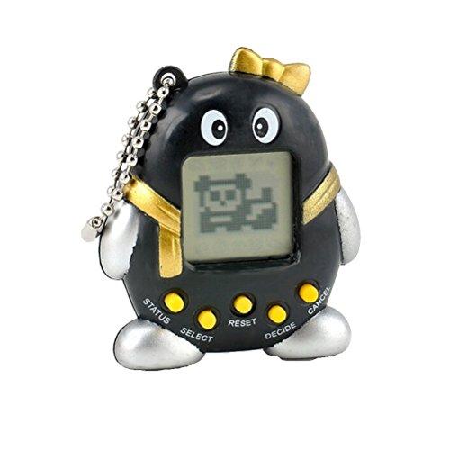 Tamagotchi - virtuelles Haustier Pinguin 49 in 1 verschiedene Farben - elektronisches Haustier Nostalgie elektronisches Spiel (Schwarz)
