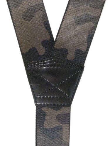 Bretelles entièrement réglable Extra Fort avec 3 Clips / Motif Camouflage - 4cm Jungle Foncé
