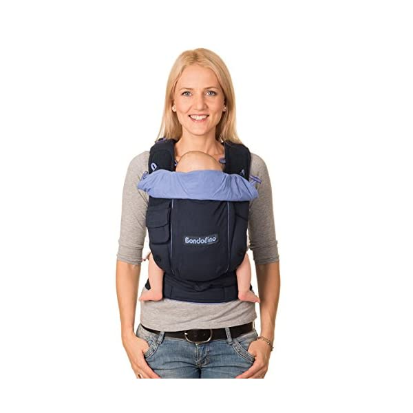 """Bondolino Comfort Carrier for Babies incl. Instruction""""Slim-fit"""", Marine Hoppediz 100% cotton coc quality (bio) For front and rucksack carrying Right from the beginning up to a weight of Max. 20 kilogrammes 1"""