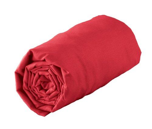 Douceur d'Intérieur Drap Housse Uni 100% coton Rouge 90 x 190 cm