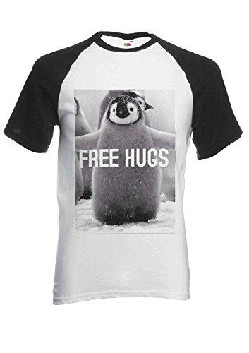 Penguin Free Hugs Funny Novelty Black/White Men Women Unisex Short Sleeve Baseball T Shirt-S - Free Womens Pink T-shirt