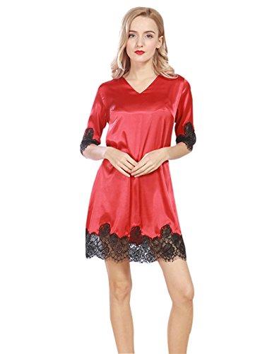 Menschwear Damen Nightgown Schlaf T-Shirt Schlaf Shirt Scoopneck Kurzarm Nachtwäsche Rot