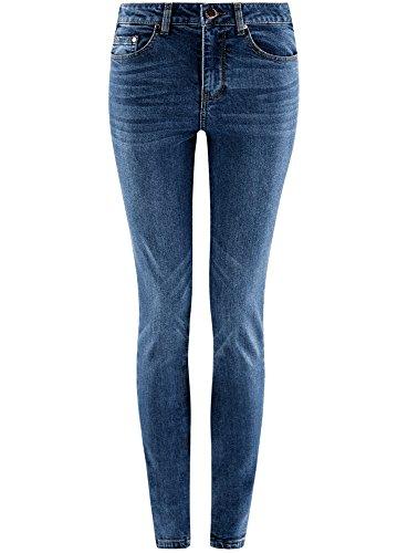 oodji Ultra Damen Jeans Slim Fit mit Hohem Bund Blau (7500W)