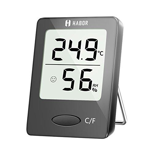 Habor Hygro-Thermometer, tragbares Temperatur-Feuchte mit hohen Genauigkeit, Komfortanzeige, geeignet für Babyraum, Wohnzimmer, Büro, usw.
