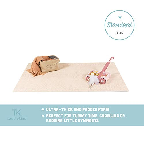 Krabbelmatte von Toddlekind |Spielmatte in Premium Qualität Extra Dicke, Abwischbare Puzzlematte Altrosa, multifunktional Kinder Spielteppich 0m+