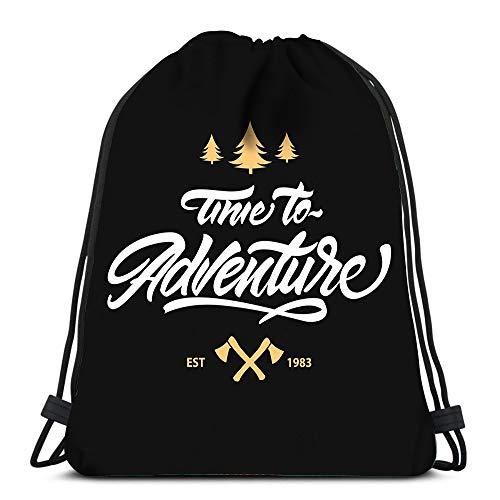 Randell Gym Drawstring Backpack Sport Bag Time to Adventure Logo Hipster Style Ax Tree Lightweight Shoulder Bags Travel College Rucksack for Women Men