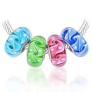 Bling Jewelry Wave Swirl Murano Glas Mehrfarbig Satz Von 4 Spacer Bead Charms Passt Europäische Charm Armbänd Für Damen 925 Silber