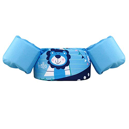 Bili Schwimmflügel für Kinder Schwimmhilfe für Kleinkinder von 2-6 Jahre, 15-30kg Kinderschwimmweste für Jungen und Mädchen (Blau - Kleiner Löwe)