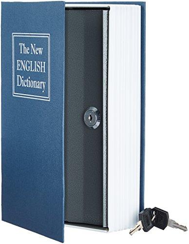 AmazonBasics - Caja de seguridad en forma de libro - Cerradura con llave - Azul