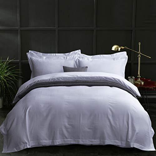 Full-size-bett Bettdecken (G'z Geometric Solid White Jacquard Bettgarnituren 100% Baumwolle Hotel Bettbezug 4-teilige Bettwäsche Bettdecken 2 Kissenbezüge 1 Bett/Bettlaken Satin Tagesdecke Keine Bettdecke (Size : Full/Queen))