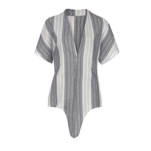Ihengh 2019 nuovi camicetta donna moda casual maniche corte girocollo shirt women stampa cotone camiciae donne fashion poliestere estate regalo san valentino(grigio,xx-large)