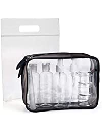 MOCOCITO Neceser Transparente con 8 Botellas de Viaje (MAX.100ml) y 1 Bolsa