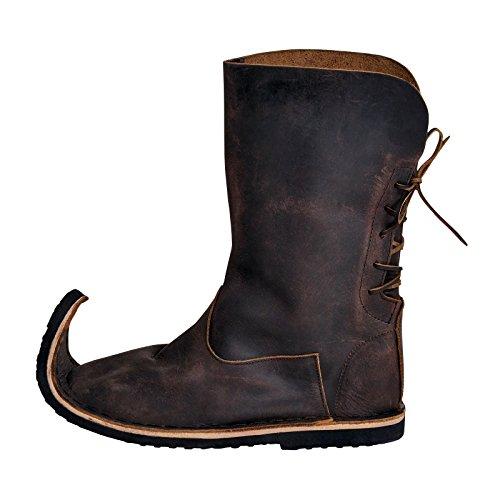 hnabelstiefel mit Schnürung 36-41 Nubukleder braun - 36 (Renaissance Erwachsene Schuhe)