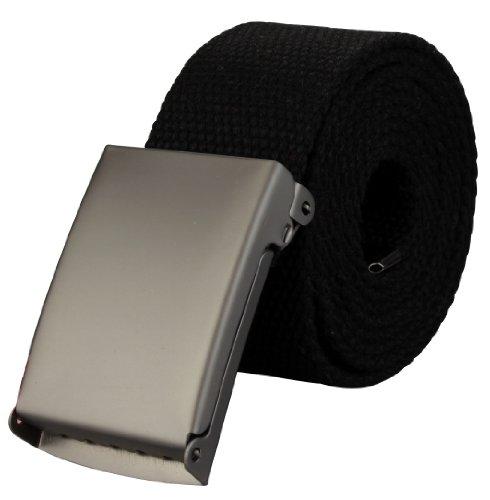 Alex Flittner Designs Hochwertiger Stoffgürtel in 4cm Breite mit Klappschnalle in schwarz | Gesamtlänge: 130cm = Bundweite 115cm